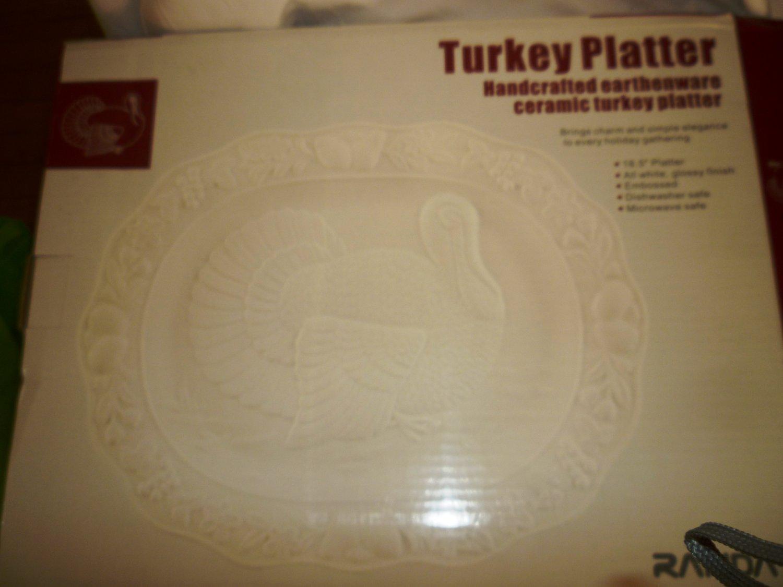 THANKSGIVING HANDCRAFTED TURKEY PLATTER WHITE EMBOSSED CERAMIC EARTHENWARE NMB