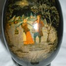 VINTAGE TRADITIONAL FOLKTALE RUSSIAN LACQUIR HANDPLAINTED EASTER EGG PALECH STND