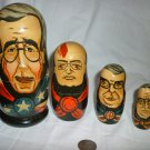 UNIQUE CARVED & HANDPAINTED SET/5 NESTING DOLLS MOST POWERFUL WORLD LIDERS 90th