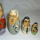 NESTING DOLLS SET OF 5 USSR RUSSIA LIDERS GORBACHEV ELCIN BREZNEV STALIN LENIN