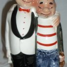CHARMING VINTAGE CERAMIC HUMOROUS FIGURAL DECANTER BOTTLE 'JOLLY TWOSOME' JAPAN