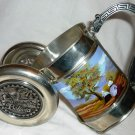 HANDCRAFTED PEWTER WINE BOTTLE CANNON HOLDER PAINTED SCENERY BOLIVIA CREATIONS