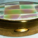 VINTAGE BRASS MAX FACTOR SPRING LIPSTIC MOTHER OF PEARL HOLDER CASE W/MIRROR MADE IN ENGLAND