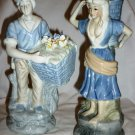 CHARMING FRENCH COUNTRY BOY & GIRL PORCELLAIN FIGURINE FLOWER SELLERS W/BASKETS