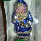 LAUSCHA GERMANY HANDBLOWN GLASS CHRISTMAS ORNAMENT BY KERBS BLUE SANTA