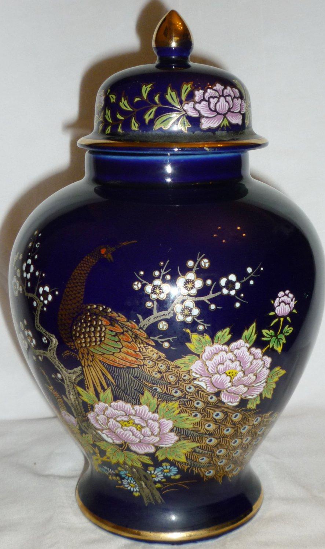 Japan Cobalt Blue Porcelain Hand Decorated Peacock Flower