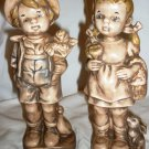 VINTAGE CHARMING CERAMIC BOY & GIRL SET OF 2 FIGURINES