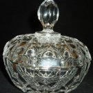 VINTAGE CRYSTAL CLEAR GLASS LIDDED BOWL VANITY