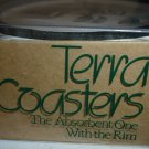 TERRA COASTERS ABSORBENT WITH RIM GOLF DESIGN MADE IN USA NEW BOX CORK LINED