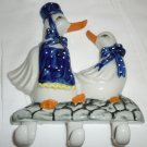 PORCELAIN WALL MOUNT TWO PAIR DUCKS HOOKS KITCHEN CHILD ROOM DECOR