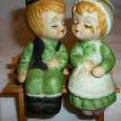 CHARMING VINTAGE PORCELAIN SALT & PEPPER SHAKERS KISSING BOY & GIRL ON A BENCH