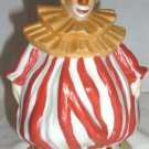 CHARMING PORCELAIN BISQUE WHITE & RED STRIPED OUTFIT CLOWN FIGURINE