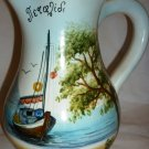 VINTAGE HANDPAINTED & SIGNED CERAMIC WATER PITCHER SUMMER BEACH SAILBOAT GREECE