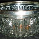 VINTAGE CUT CLEAR LEAD CRYSTAL GLASS BOWL SILVERPLATE TRIM BOWL FRUIT ENGLAND