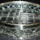 VINTAGE CUT CLEAR LEAD CRYSTAL GLASS DIVIDED DISH SILVERPLATE TRIM BOWL ENGLAND