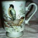 VINTAGE ROYAL CROWN COFFEE TEA PEDESTAL MUG CUP FINCH BIRDS