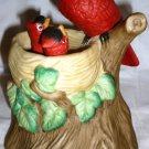 VINTAGE ANIMATED MUSIC BOX PORCELAIN BISQUE CARDINAL IN THE NEST WITH CHICKS