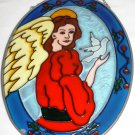 INSPIRATIONAL STAINED GLASS WINDOW SUN CATCHER ANGEL WITH DOVE
