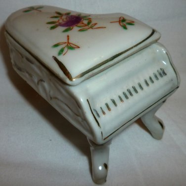 VINTAGE PORCELAIN TRINKET RING BOX HANDPAINTED PIANO DECORATIVE DOLLHOUSE JAPAN