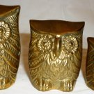 VINTAGE SOLID BRASS OWL BIRD FIGURINE PAPER WEIGHT SET OF 3
