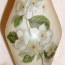 VINTAGE WHITE SATIN FROSTED GLASS HANDPAINTED JASMINE FLOWERS PEDESTAL VASE