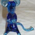 VINTAGE MURANO COBALT BLUE GLASS MOUSE MICE FIGURINE STUDIO ART GLASS ITALY