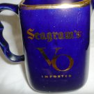 VINTAGE COBALT CERAMIC SEAGRAM'S VO CANADIAN WHISKEY WATER PITCHER