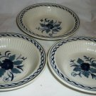 ADAMS REAL ENGLISH IRONSTONE MICRATEX BALTIC BLUE & WHITE SET OF 3 SOUP BOWLS