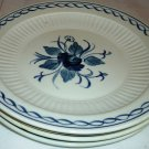 ADAMS REAL ENGLISH IRONSTONE MICRATEX BALTIC BLUE & WHITE SET OF 4 BREAD PLATES