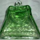 GORGEOUS HANDBLOWN MURANO OPTICAL GREEN GLASS WALL POCKET FLOWER VASE PURSE