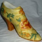 CINTAGE PORCELAIN HIGH HEEL FLOWER DESIGN VICTORIAN SHOE TRINKET RING HOLDER