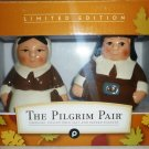 THANKSGIVING DESIGN THE PILGRIM PAIR COLLECTIBLES PORCELAIN SALT PEPPER SHAKERS