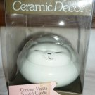 CERAMIC DECOR SLEEPING CAT FIGURINE LE FRAGRANCE CONTAINS VANILLA SCENTED CANDLE