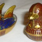 CHARMING CLOISONNE HANDPAINTED ENAMEL FIGURAL TRINKET BOX SET OF 2 DUCKS