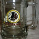 CLEAR GLASS REDSKINS PEWTER PAINTED LOGO BEER STEIN TANKARD MUG