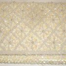VINTAGE DuBARRY BEADED IVORY WHITE EVENING BAG CLUTCH + SILVERPLATE COMB