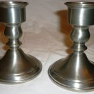 VINTAGE WEB WEIGHTED PEWTER CANDLE HOLDERS SET OF 2