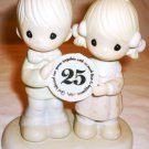 PRECIOUS MOMENT 25 YEARS ANNIVERSARY LOVE & HAPPINESS TOGETHER FIGURINE HEART