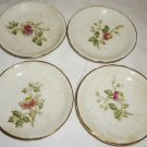 ANTIQUE SEMIVITROUS EDWIN M. KNOWLES CHINA FLOWER COASTERS SET OF 4