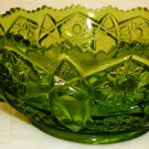 VINTAGE L.E. SMITH GREEN GLASS STAR & QUINTEC BUTTON HANDLED NAPPY DISH BOWL
