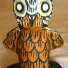 MINIATURE WOOD CARVED OWL BIRD FIGURINE DOLLHOUSE DECOR