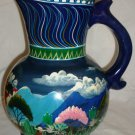"GORGEOUS HANDPAINTED CERAMIC LARGE 12"" PITCHER FLOWER VASE DECOR"