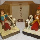 VINTAGE HANDCARVED ANRI ITALY SET OF BOOKENDS KIDS SLEDDING BOY & GIRL NMB