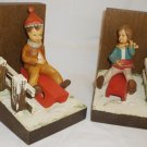 VINTAGE HANDCARVED ANRI ITALY SET OF BOOKENDS KIDS SLEDDING BOY & GIRL
