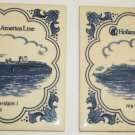 DELFT PORCELAIN TILE HOLLAND AMERICAN CRUISE LINE MS OOSTERDAM I SET OF 2