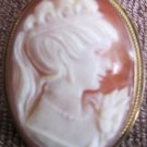 ANTIQUE .825 GOLD SILVER INCASED CAMEO CORAL SHELL CARVED ITALY PEDANT BROCH