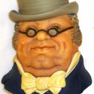 VINTAGE LEGEND PRODUCTS ENGLAND CHALKWARE SCULPTURED WALL HEAD MASK MR. PICKWICK