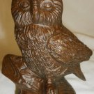 VINTAGE RED MILL USA CARVED FIGURINE OWL BIRD PECAN SHELL