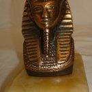 BEAUTIFUL SOLID BRONZE BUST PHARAOH KING TUTANKHAMUN FIGURINE ON ONYX PEDESTAL