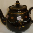 VINTAGE WADE ENGLAND BLACK PORCELAIN HAND PAINTED FLOWERS & GOLD TEAPOT